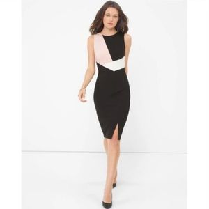 WHBM Colorblock Side Slit Sheath Dress Size 8